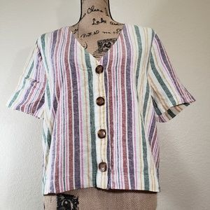 Abound Button Up Loose Blouse